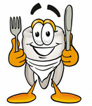Clip Art Graphic of a Human Molar Tooth Character Holding a Knife and Fork