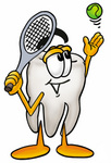 Clip Art Graphic of a Human Molar Tooth Character Preparing to Hit a Tennis Ball