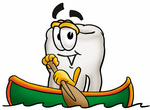 Clip Art Graphic of a Human Molar Tooth Character Rowing a Boat