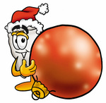 Clip Art Graphic of a Human Molar Tooth Character Wearing a Santa Hat, Standing With a Christmas Bauble
