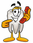 Clip Art Graphic of a Human Molar Tooth Character Holding a Telephone