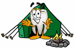 Clip Art Graphic of a Human Molar Tooth Character Camping With a Tent and Fire