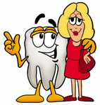 Clip Art Graphic of a Human Molar Tooth Character Talking to a Pretty Blond Woman