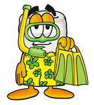 Clip Art Graphic of a Human Molar Tooth Character in Green and Yellow Snorkel Gear