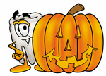 Clip Art Graphic of a Human Molar Tooth Character With a Carved Halloween Pumpkin