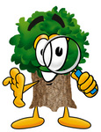 Clip Art Graphic of a Tree Character Looking Through a Magnifying Glass