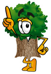Clip Art Graphic of a Tree Character Pointing Upwards