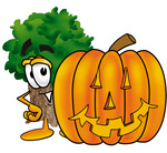 Clip Art Graphic of a Tree Character With a Carved Halloween Pumpkin