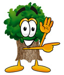 Clip Art Graphic of a Tree Character Waving and Pointing