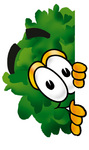 Clip Art Graphic of a Tree Character Peeking Around a Corner