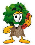 Clip Art Graphic of a Tree Character Holding a Telephone