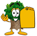 Clip Art Graphic of a Tree Character Holding a Yellow Sales Price Tag