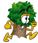 Clip Art Graphic of a Tree Character Running