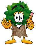 Clip Art Graphic of a Tree Character Holding a Pencil