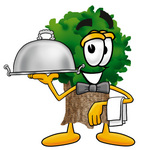 Clip Art Graphic of a Tree Character Dressed as a Waiter and Holding a Serving Platter