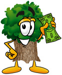 Clip Art Graphic of a Tree Character Holding a Dollar Bill