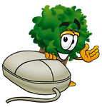 Clip Art Graphic of a Tree Character With a Computer Mouse