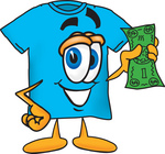 Clip Art Graphic of a Blue Short Sleeved T Shirt Character Holding a Dollar Bill