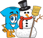 Clip Art Graphic of a Blue Short Sleeved T Shirt Character With a Snowman on Christmas