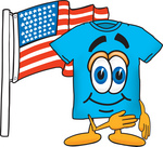 Clip Art Graphic of a Blue Short Sleeved T Shirt Character Pledging Allegiance to an American Flag