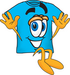 Clip Art Graphic of a Blue Short Sleeved T Shirt Character Jumping