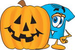 Clip Art Graphic of a Blue Short Sleeved T Shirt Character With a Carved Halloween Pumpkin