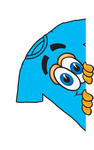 Clip Art Graphic of a Blue Short Sleeved T Shirt Character Peeking Around a Corner