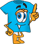 Clip Art Graphic of a Blue Short Sleeved T Shirt Character Pointing Upwards