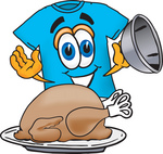 Clip Art Graphic of a Blue Short Sleeved T Shirt Character Serving a Thanksgiving Turkey on a Platter