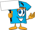Clip Art Graphic of a Blue Short Sleeved T Shirt Character Holding a Blank Sign