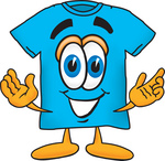 Clip Art Graphic of a Blue Short Sleeved T Shirt Character With Welcoming Open Arms