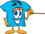 Clip Art Graphic of a Blue Short Sleeved T Shirt Character Holding a Pointer Stick