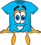 Clip Art Graphic of a Blue Short Sleeved T Shirt Character Sitting