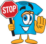 Clip Art Graphic of a Blue Short Sleeved T Shirt Character Holding a Stop Sign