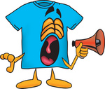 Clip Art Graphic of a Blue Short Sleeved T Shirt Character Screaming Into a Megaphone