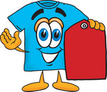 Clip Art Graphic of a Blue Short Sleeved T Shirt Character Holding a Red Sales Price Tag