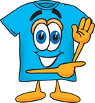 Clip Art Graphic of a Blue Short Sleeved T Shirt Character Waving and Pointing