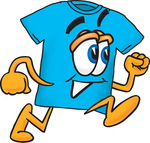 Clip Art Graphic of a Blue Short Sleeved T Shirt Character Running