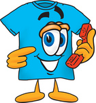 Clip Art Graphic of a Blue Short Sleeved T Shirt Character Holding a Telephone