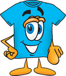 Clip Art Graphic of a Blue Short Sleeved T Shirt Character Pointing at the Viewer