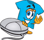 Clip Art Graphic of a Blue Short Sleeved T Shirt Character With a Computer Mouse