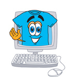 Clip Art Graphic of a Blue Short Sleeved T Shirt Character Waving From Inside a Computer Screen