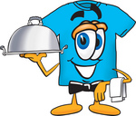 Clip Art Graphic of a Blue Short Sleeved T Shirt Character Dressed as a Waiter and Holding a Serving Platter