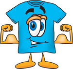 Clip Art Graphic of a Blue Short Sleeved T Shirt Character Flexing His Arm Muscles