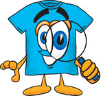 Clip Art Graphic of a Blue Short Sleeved T Shirt Character Looking Through a Magnifying Glass