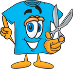 Clip Art Graphic of a Blue Short Sleeved T Shirt Character Holding a Pair of Scissors