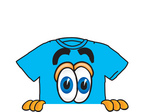 Clip Art Graphic of a Blue Short Sleeved T Shirt Character Peeking Over a Surface