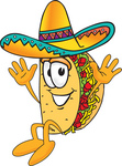 Clip Art Graphic of a Crunchy Hard Taco Character Wearing a Sombrero and Jumping