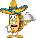 Clip Art Graphic of a Crunchy Hard Taco Character Wearing a Sombrero, Waiting Tables and Serving a Platter