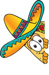 Clip Art Graphic of a Crunchy Hard Taco Character Peeking Around a Corner